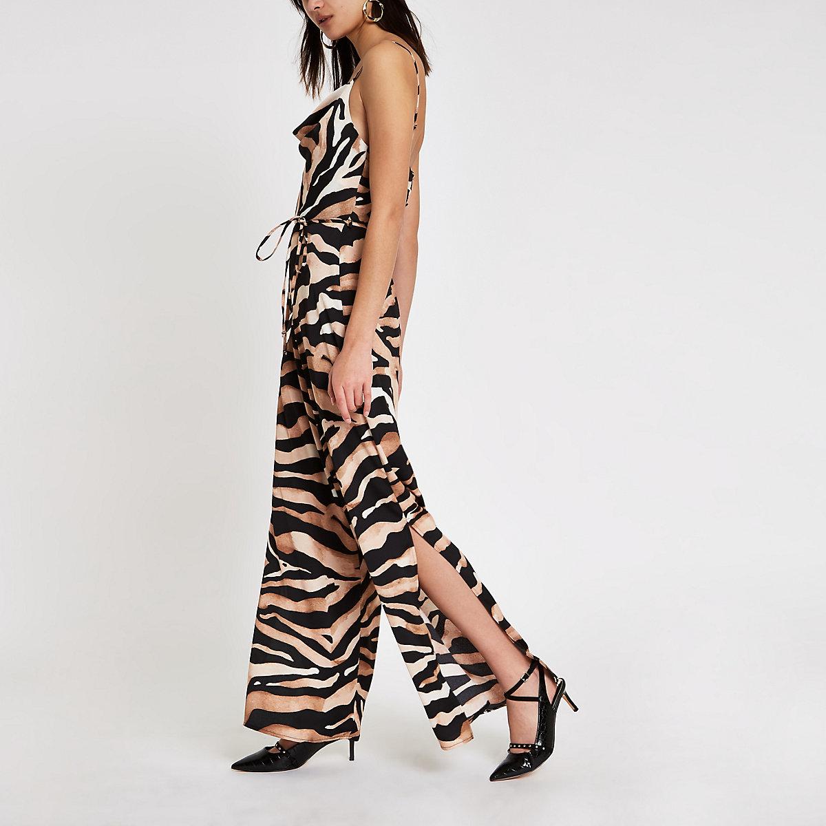 Brown tiger print cowl neck jumpsuit