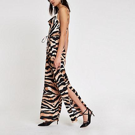f6d17fed6c7 Womens Brown tiger print cowl neck jumpsuit
