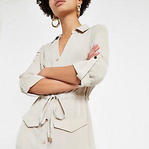 Beige utility midi shirt dress
