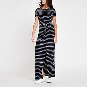 Navy stripe twist front maxi dress