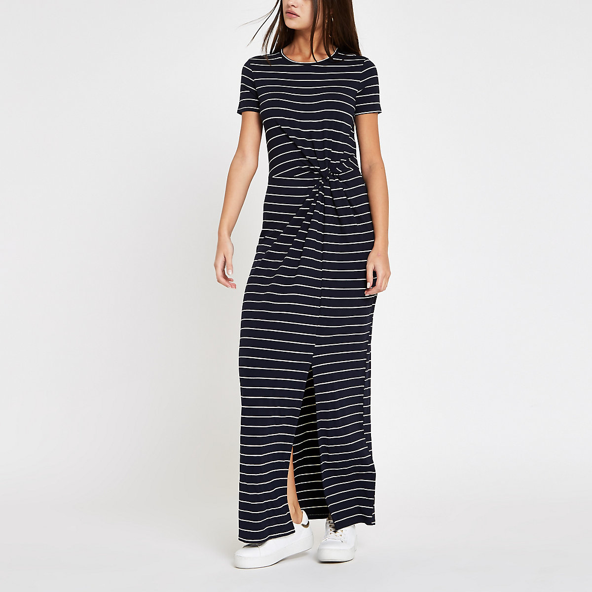 Navy stripe twist front maxi dress