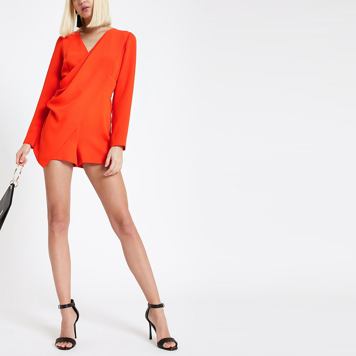 Red wrap front long sleeve playsuit