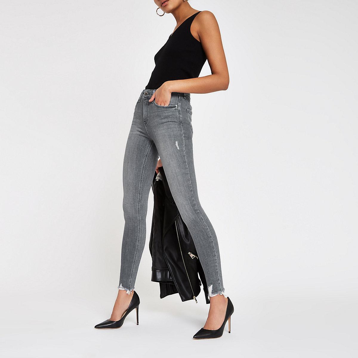 Grey Amelie fray hem skinny jeans