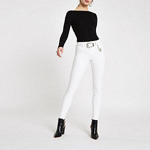 Amelie - Crème skinny western jeans met riem