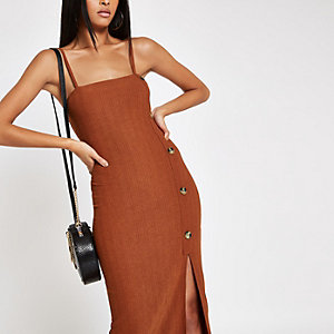 Rust button detail slip midi dress
