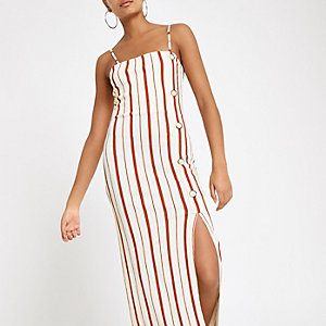Cream stripe button down maxi slip dress