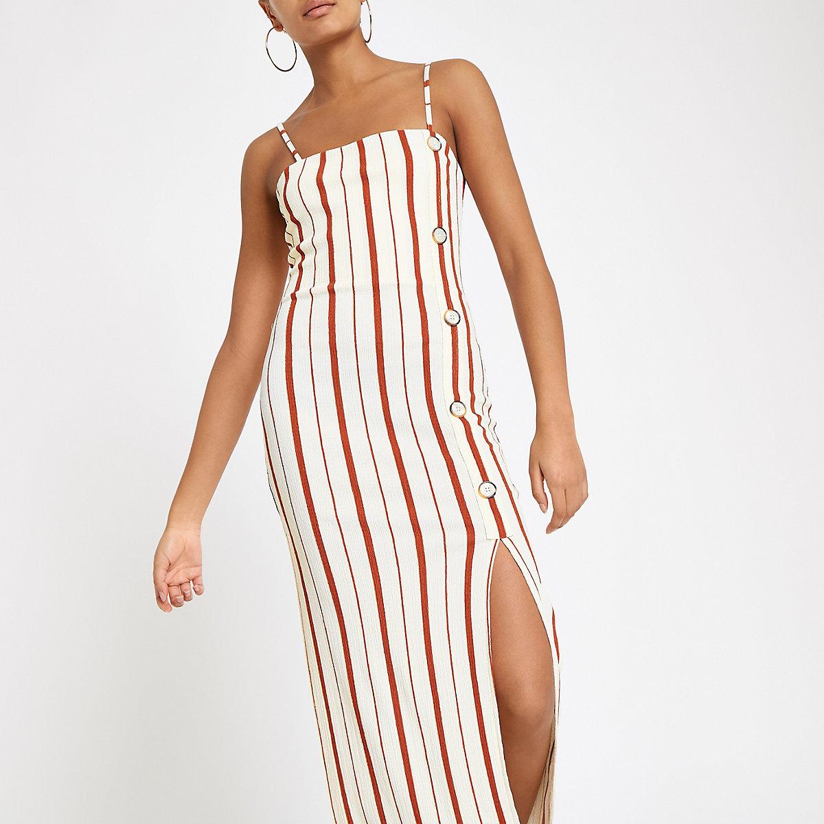Cream stripe button through maxi slip dress