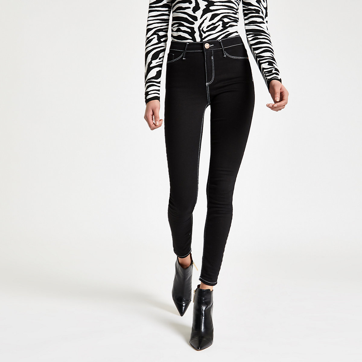 Black Molly contrast mid rise jeggings