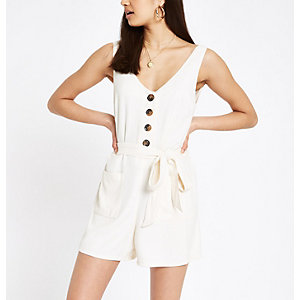 Cream button front tie waist playsuit