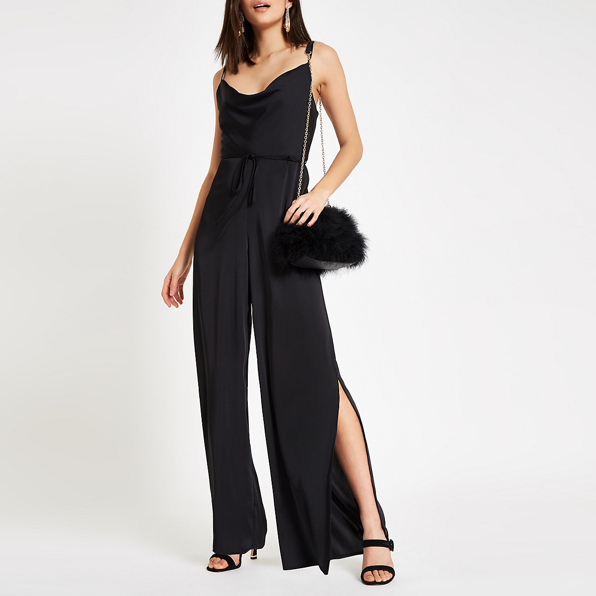 Black cowl neck cami strap jumpsuit