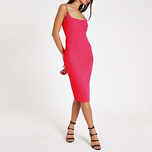 Bright pink rib rhinestone trim bodycon dress