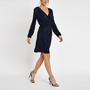 Mini-robe portefeuille plissée bleu marine