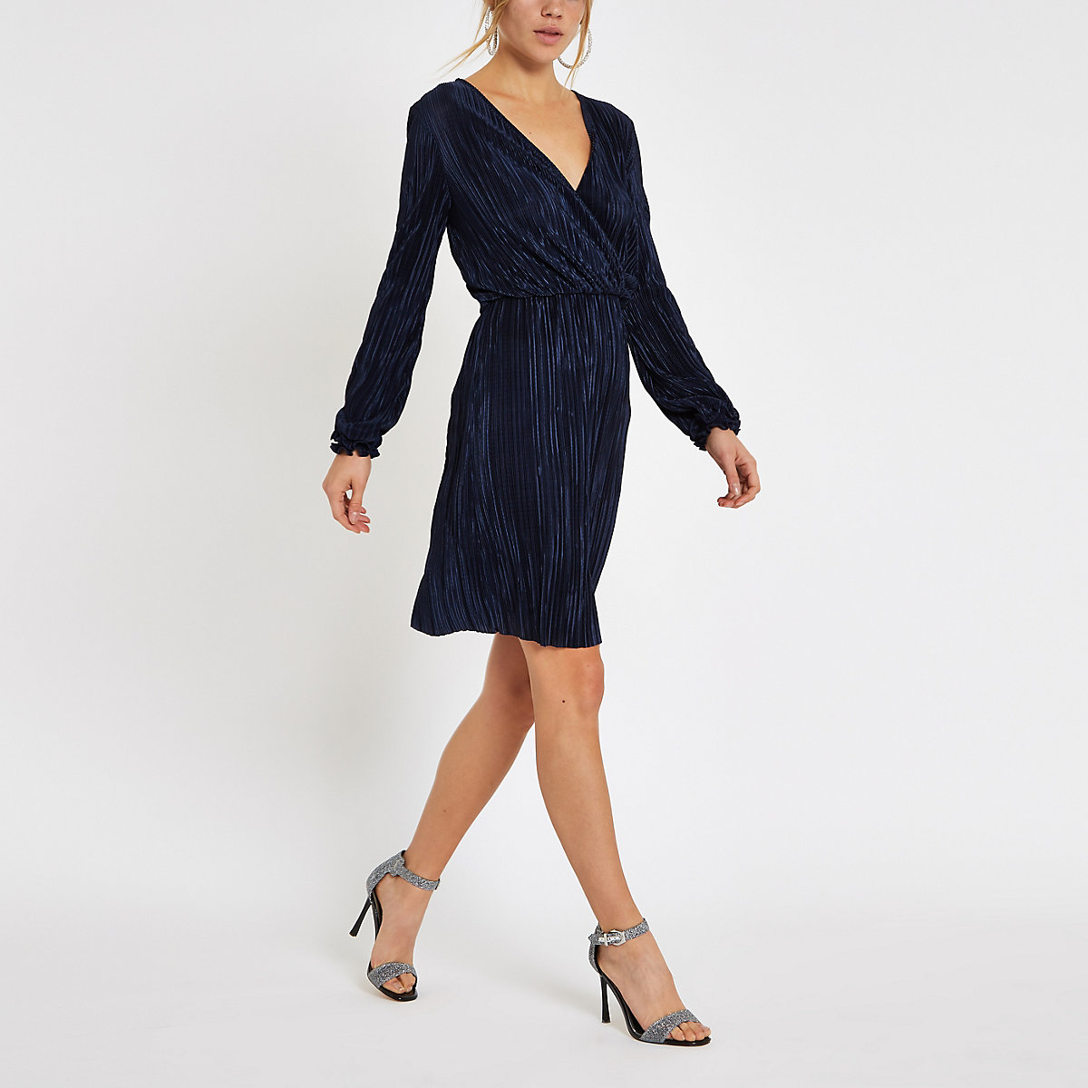 Navy plisse wrap front mini dress