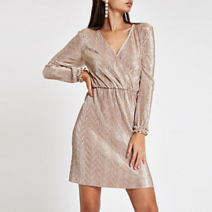 Light pink metallic plisse wrap mini dress