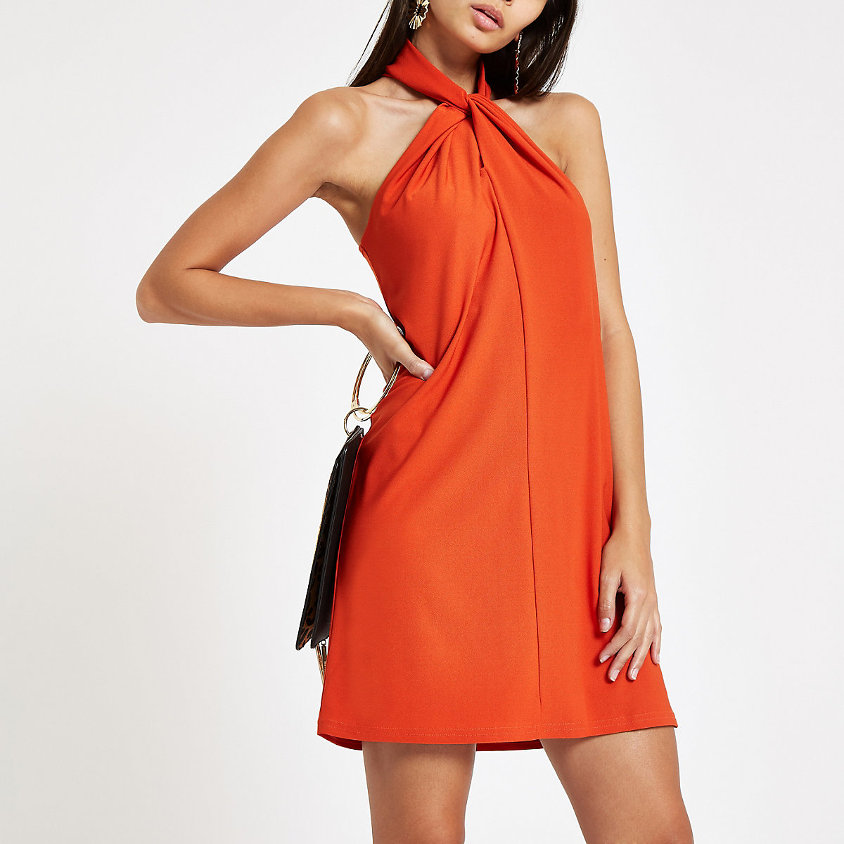 Dark orange wrap neck mini swing dress