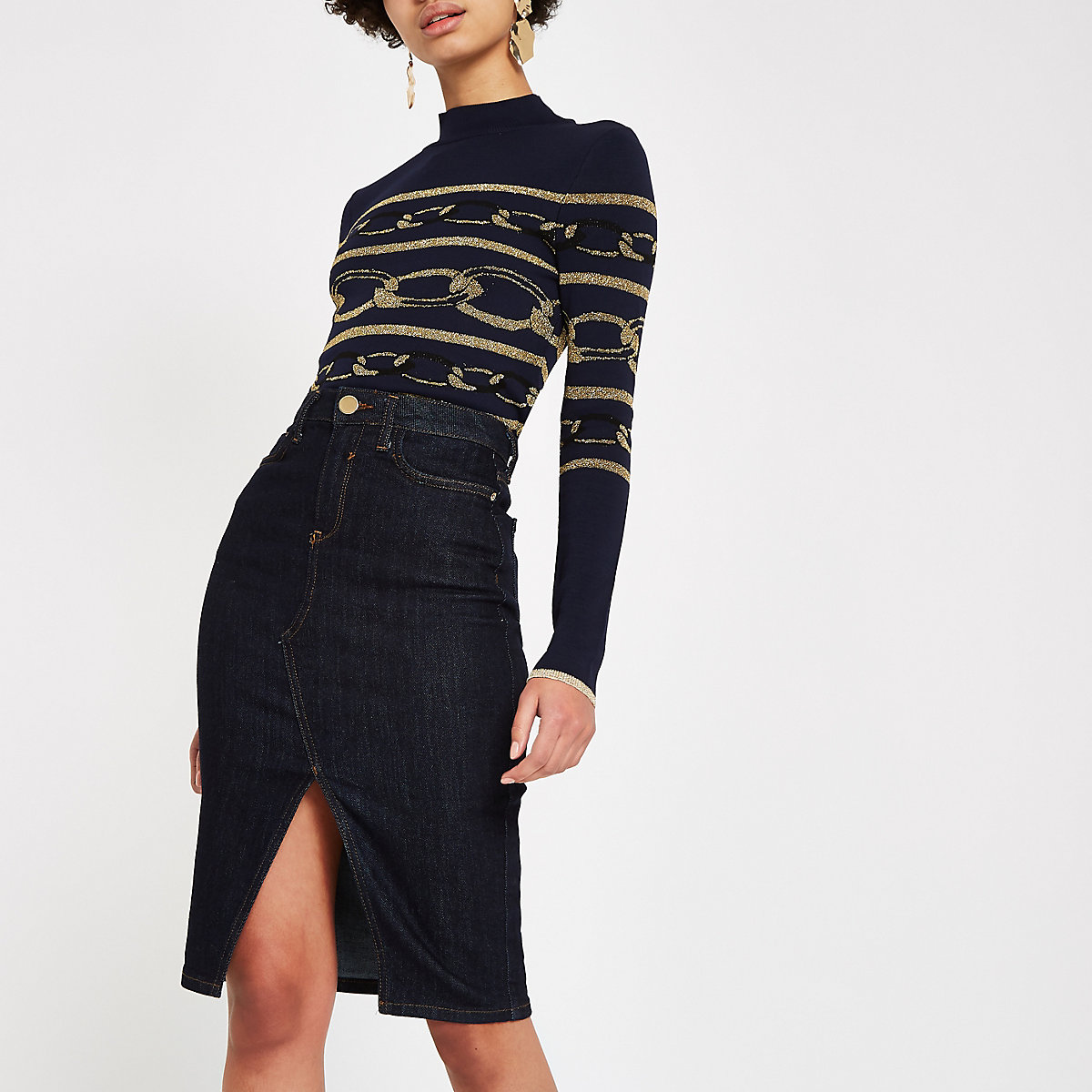Dark blue denim pencil skirt