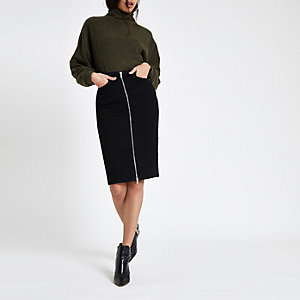 Black zip through denim pencil skirt
