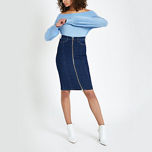 Dark blue zip through denim pencil skirt