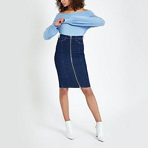 Dark blue zip through denim pencil skirt