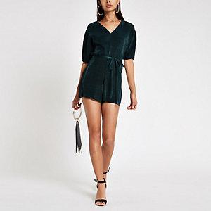 Combi-short plissé vert à manches chauve-souris et taille nouée