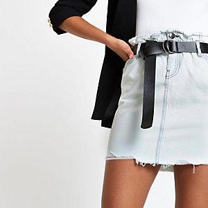 Light blue belted denim mini skirt