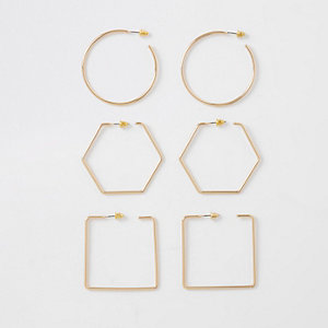 Gold tone mixed shapes hoop earrings pack