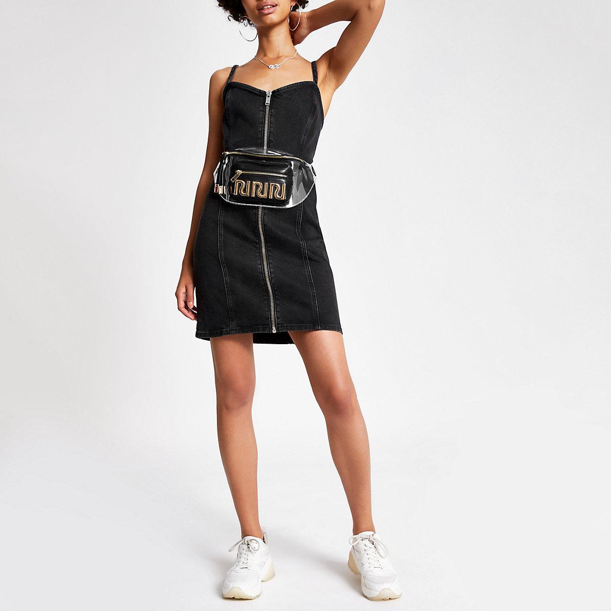 Black denim zip up pinafore dress