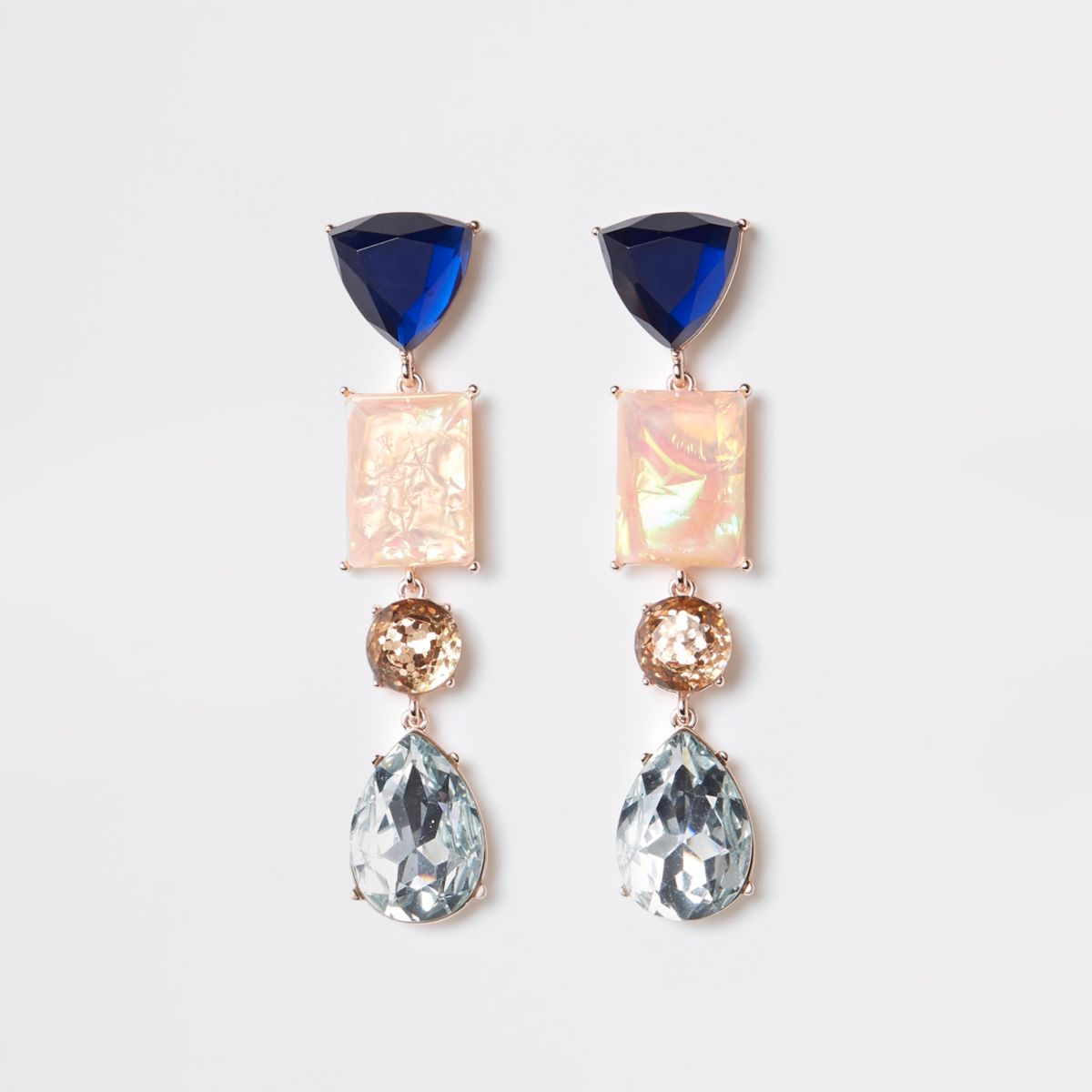Rose gold colour blue jewel drop earrings
