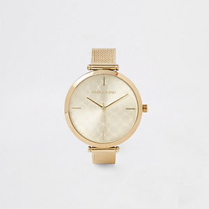 Gold colour mesh strap watch
