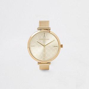 Goudkleurig horloge met mesh bandje