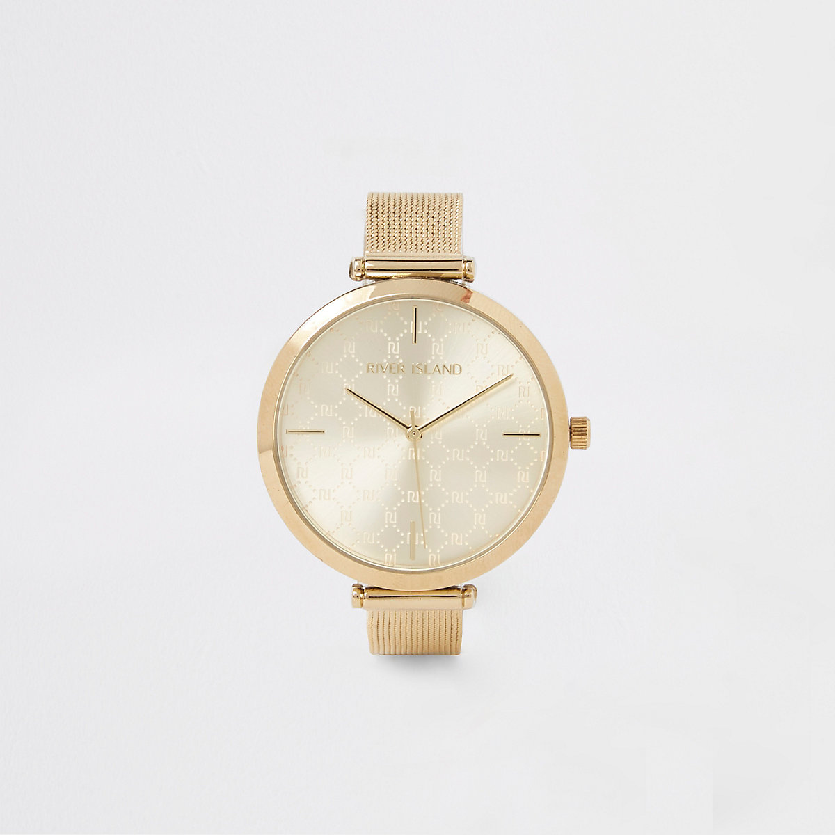 Gold color mesh strap watch