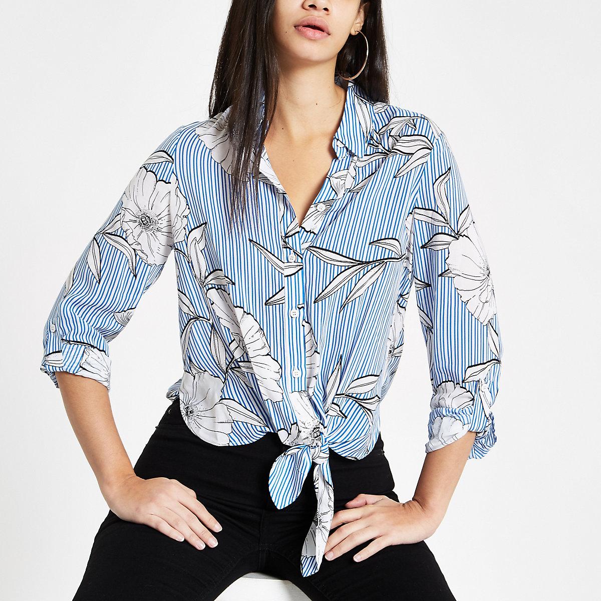 Blue stripe floral print tie front shirt