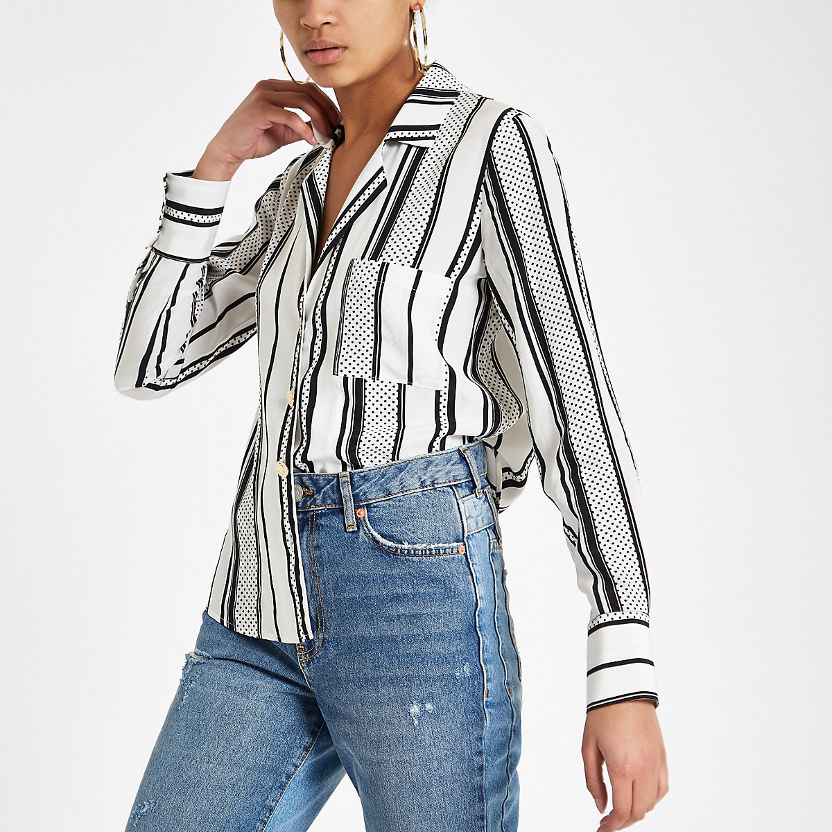 Black stripe gold tone button shirt