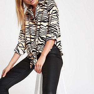 Hemd in Creme mit Zebra-Print