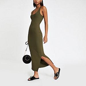 Kaki geribbelde bodycon maxi-jurk met lage hals