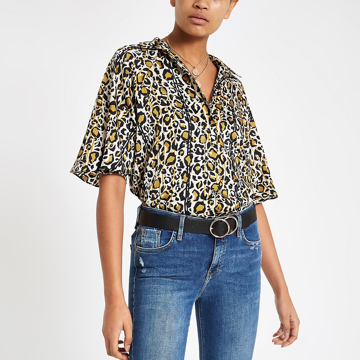 Brown leopard print tie side shirt
