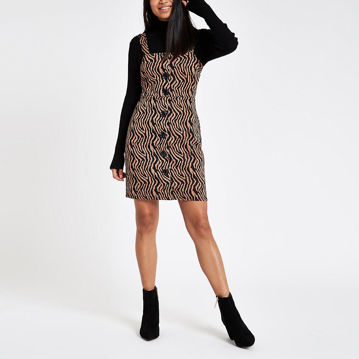 Petite brown zebra print pinafore mini dress