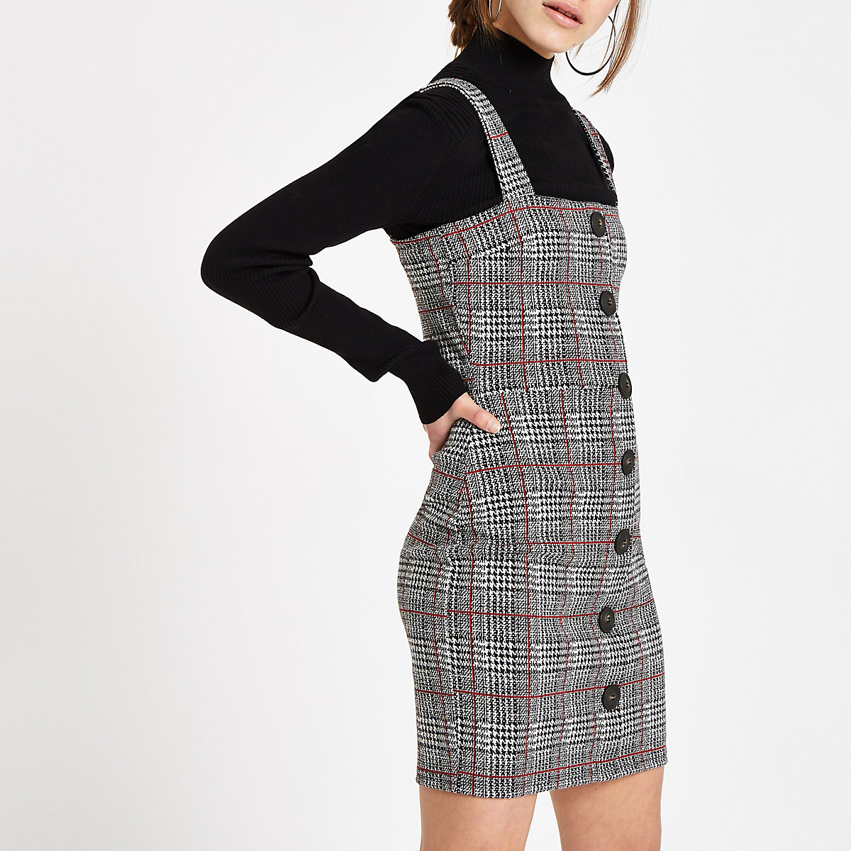 Petite grey check button up pinafore dress