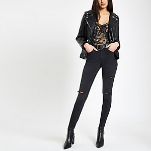 Black washed Alannah ripped skinny jeans
