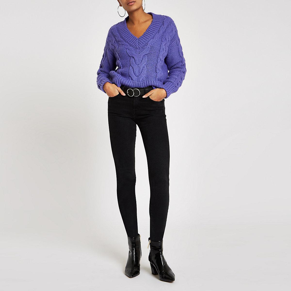 Purple cable knit V neck jumper