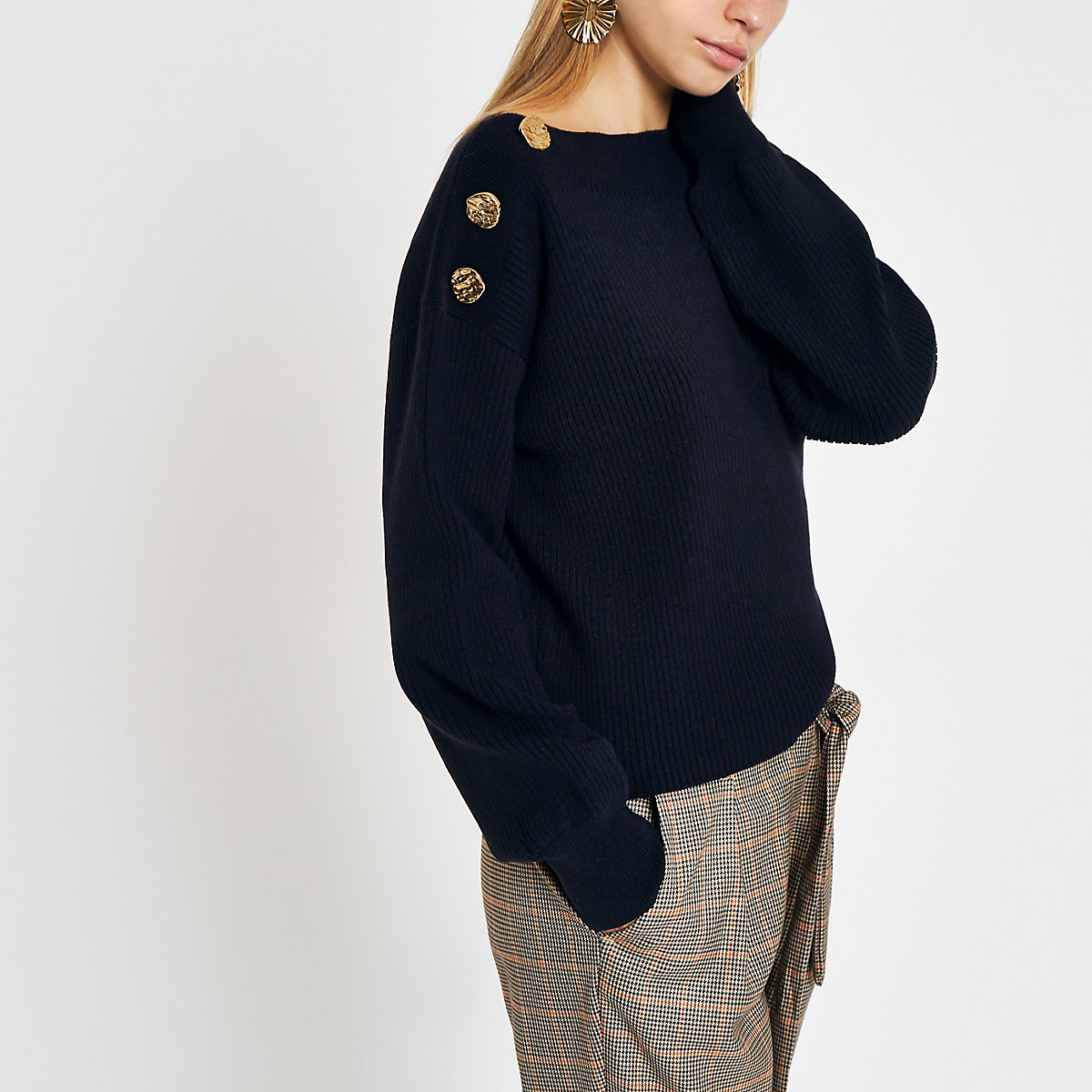Navy boat neck button detail sweater
