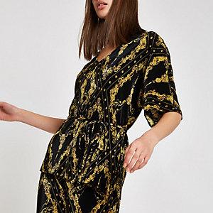 Top à imprimé chaîne noir plissé noué à la taille style kimono