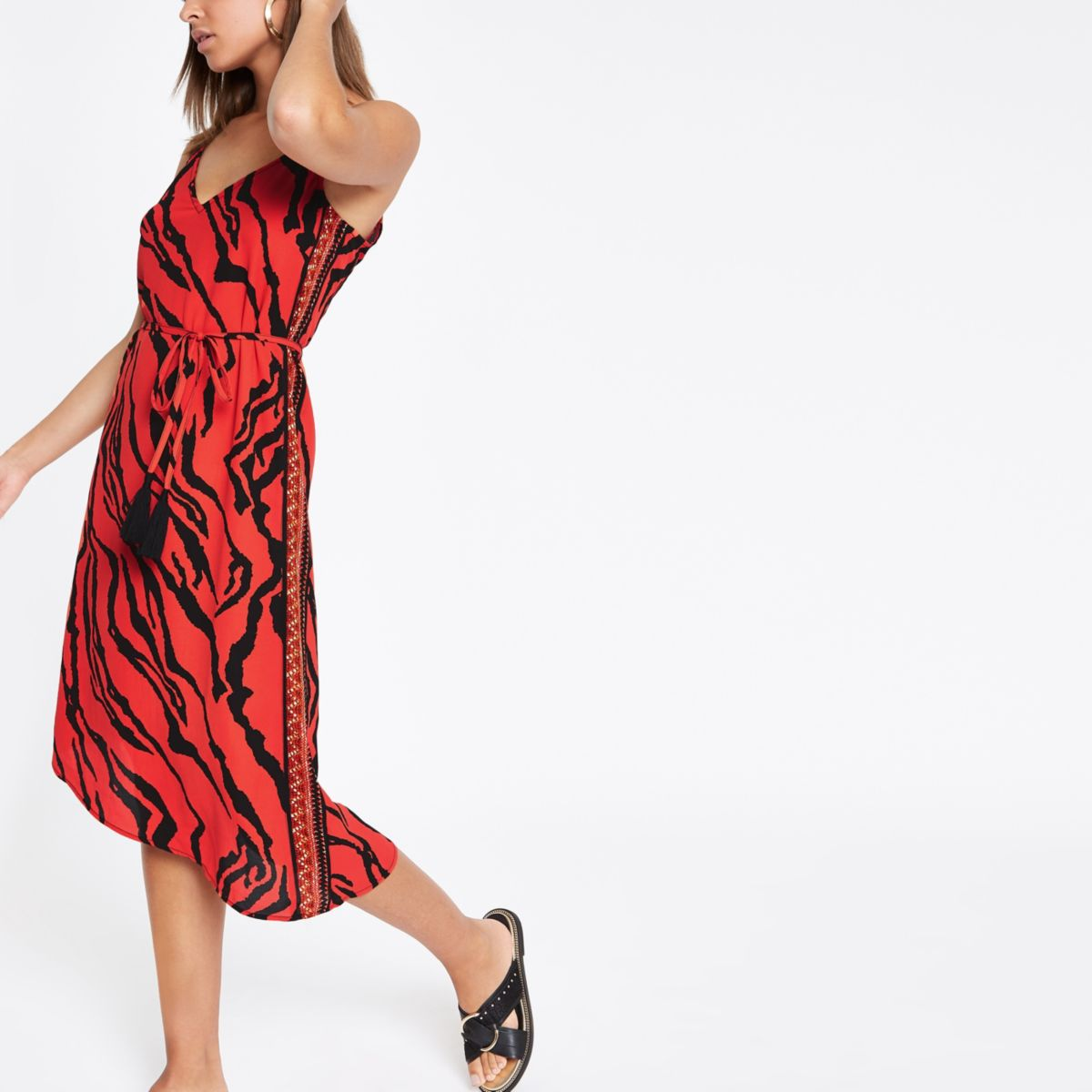 Red zebra print tie waist midi beach dress
