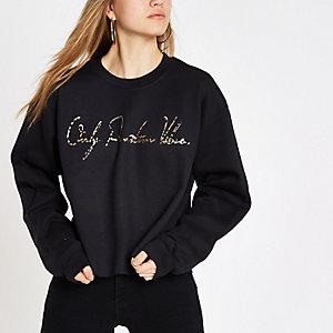 Zwart sweatshirt met 'positive vibes'-folieprint