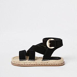 Sandales en daim noires à semelle espadrille