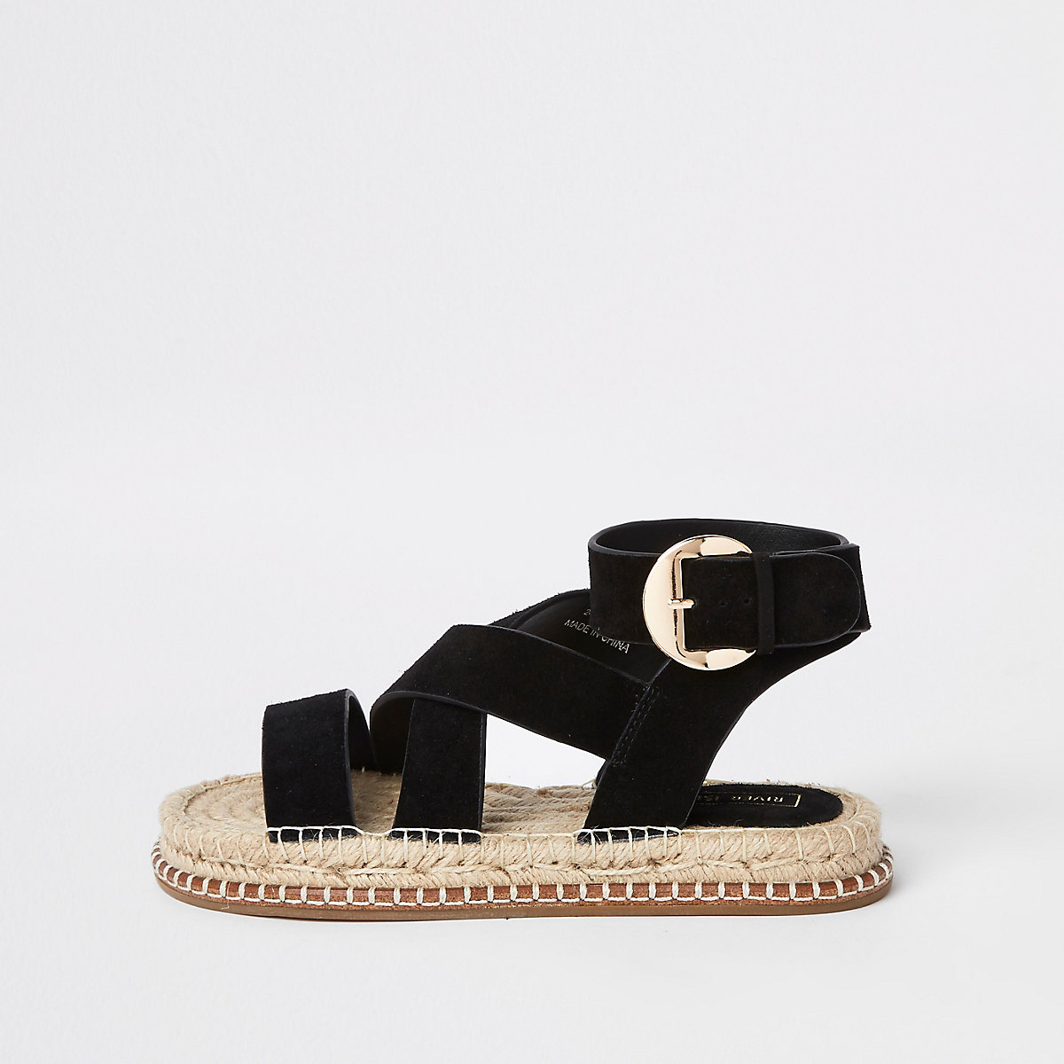 Black suede espadrille sandals