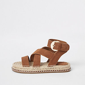 Brown suede espadrille sandals