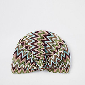 Blue zig zag print turban headband