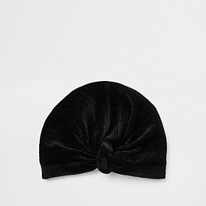 Zwarte plissé gedraaide tulband van fluweel