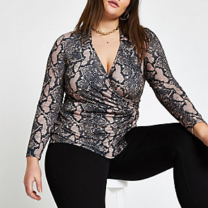 Plus beige snake print wrap top